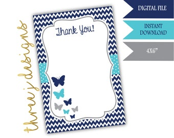 Butterfly Baby Shower Thank You Card - INSTANT DOWNLOAD - Navy Blue, Teal, and Gray - Digital File - J007