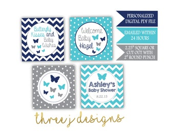 Butterfly Baby Shower Personalized Cupcake Toppers - Navy Blue, Teal and Gray - Digital File - J007