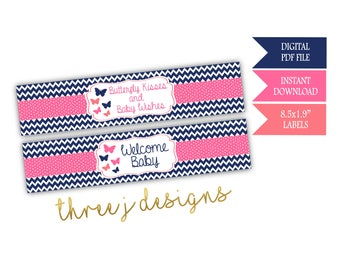 Butterfly Baby Shower Water Bottle Labels - INSTANT DOWNLOAD - Navy Blue, Pink and Coral - Digital File - J003