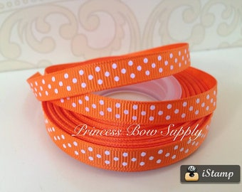 "1, 5 yard 3/8"" Halloween orange white swiss polka dot grosgrain ribbon line alligator clip yard bow dog cat collar planner supplies supply"