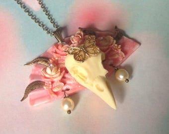 Pink fan necklace skull bird Butterfly