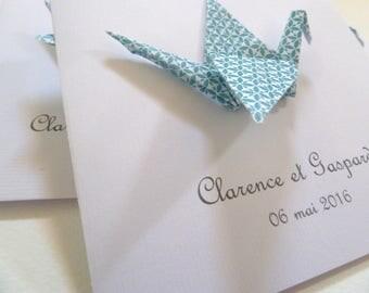 Invitation christening or birth origami crane - greeting card - blue / handmade