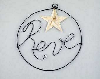 Handmade word in wire - dream - origami star - wall decor - baby room - living room - gift - wedding decoration