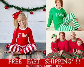 Free Shipping* Personalized Christmas Pajamas - Embroidered Monogram Christmas Pj's - Red and White Stripe Christmas Pajamas for the family