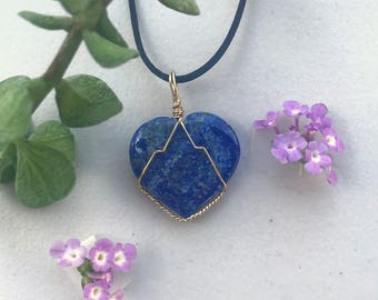 Heart Shaped Lapis Lazuli Gold-Plated Wire Wrapped Necklace