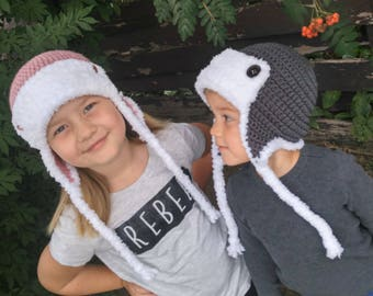 Aviator Hat - Warm Winter Hat - Available in All Sizes - Boy Aviator Hat - Girl Aviator Hat - Earflap Hat -
