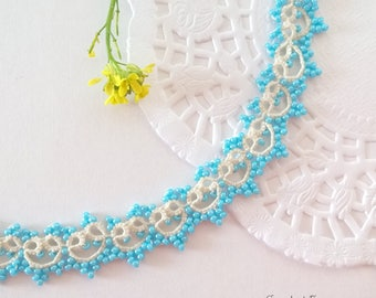 Blue lace necklace, Tatting lace jewelry, Beaded choker, Beige and blue, Necklace for bride, Gift for her