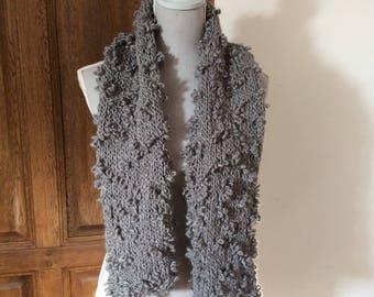 Fancy scarf.   Gray wool handmade