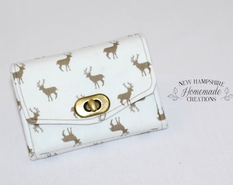 The Mini Necessary Clutch Wallet - NCW - Brown Reindeer /White background