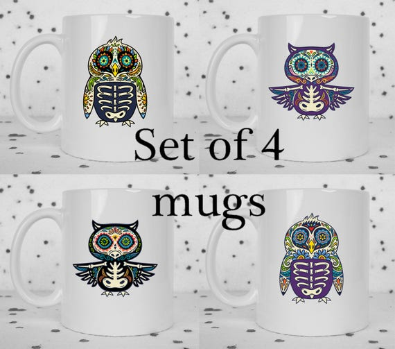 Set of 4 sugar skull owl & bird mugs