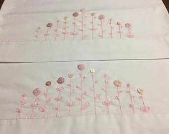 Pillowcase set Pink Yoyo Flower Garden Hand Embroidered Shell Button Flowers