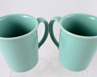 Vintage Corning Mugs Set of 2 Robin's Egg Blue Seafoam Jade Green Coffee Tea Ceramic Microwaveable