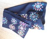 HAND MADE Cowboy Fancy fancy Dress Pants// Western Fancy Wear// Hand embroidered flowers along down the sides//fits curves//Perfect vintage