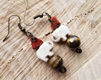 SALE!!!! Mother Gaia Tiger's Eye Red Jasper Elephant Earrings for Creativity