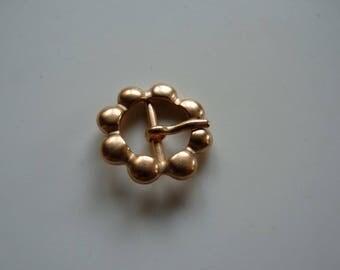 2 shiny copper metal flower buckles