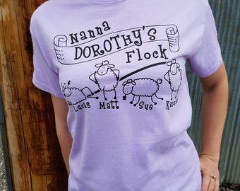 Nanna's or Grandma's Flock - Personalized Sheep Themed T-shirt With Names