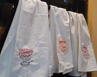 Flour Sack Dish Towels With Fun Embroidery - Punchy Designs