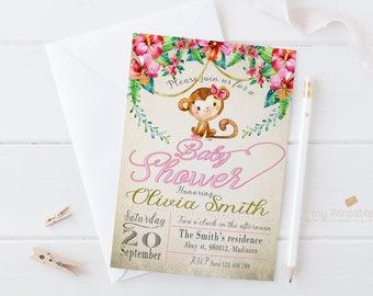 Monkey Baby Shower Invitation / Digital Printable Invite / DIY