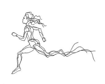 "Female Runner, 2D Athlete Wire Sculpture 36"" by Elizabeth Berrien"