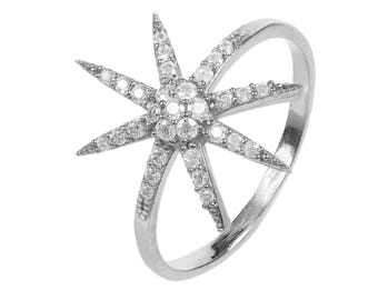 Star burst Ring Sterling Silver