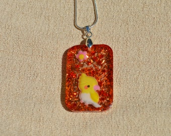 Yellow Cockatiel Bird Necklace, Orange Back, Resin Jewelry