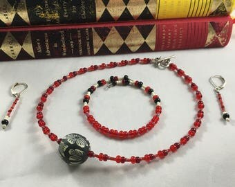 Red Black and White Jewelry Set, Necklace, Bracelet and Earrings