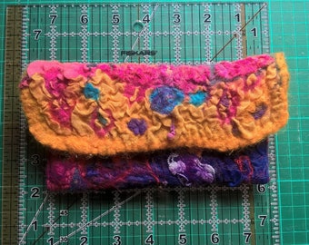 Abstract Nuno felted pouch