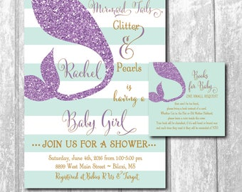 Mermaid Baby Shower Invitation with Book Request Insert/Digital files or printing/glitter tail, mermaid invitation/Wording can be changed