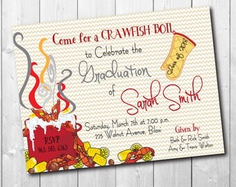 Crawfish Boil Graduation Party Invitation/printable/Digital File/class of 2018, seafood boil, senior party, girl, boy/Wording can be changed