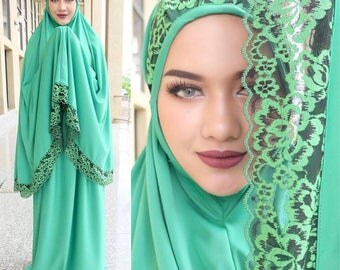 Prayer Dress Muslim Two-Piece Abaya Green Talakong Muslim Islamic Abaya Set Hajj Umrah