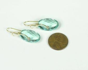 18K Prasiolite Earrings, 14K Prasiolite Earrings,Diamond Earrings,Prasiolite Earrings with Diamonds,Bridal Earrings, Gold Leverback Earrings
