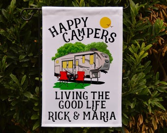 Happy Campers Personalized 5th Wheel Garden Flag, Large 5th Wheel Campsite Flag, RV Gift, 5th Wheel Camp Sign, Stand not included EYF-089_W