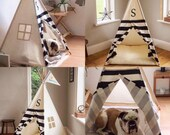 Pet Teepee. Striped Monogram / Personalised Teepee for your Pet. All Poles included!