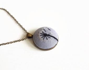 Long necklace with contemporary embroidered bronze pendant gift idea for Women and Girls with Silver Dandelion / Pendant 3x3cm / Chain 35cm