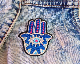 Blue Eye Hamsa Patch Iron on Embroidered Colourful Hand of Fatima Symbol Applique Custom Jacket and Clothing Fabric Hot Fix Badge UK