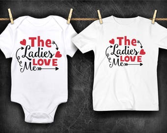 The Ladies Love Me Funny  Bodysuit or T-Shirt for Baby Toddler Kid Newborn Babies Shower Coming Home Gift Idea Creeper Present Day Boy's