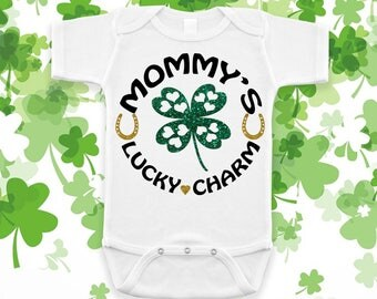 Mommy's Lucky Charm Irish St. Patricks Day Baby Shower Birthday Gift Idea Girl Boy Toddler Clothing Romper Shirt Tee Coming Home Cute Unisex