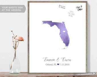 Wedding Guest Book Alternative / Florida Map Illustration / Watercolor Map Guestbook / Guest Sign In ▷Canvas, Paper, Board {or} Printable