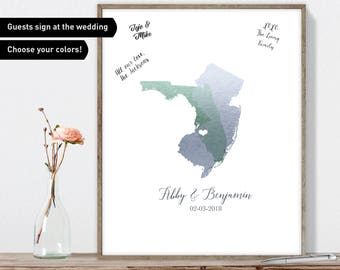 Map Wedding Guest Book Alternative / Love Map: Florida & New Jersey Map / Faux Metallic Dusty Blue, Green Guestbook / Canvas or Framed Print
