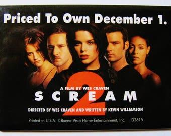 Scream Movie-Pinback Button-Wes Craven Horror Film-Vintage Promotional Advertising-Buena Vista Home Entertainment Video Movie Promo Pin