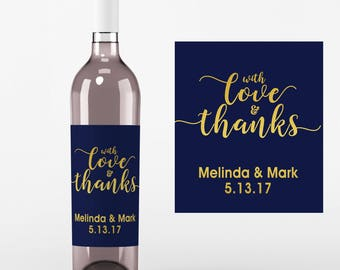 4 With Love and Thanks Wine Labels • Personalized Wedding Wine Label - Faux Gold Foil - Custom Wine Labels - Custom Color