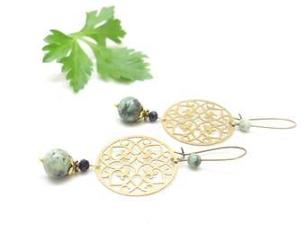 Bohemian earrings ~, ~ stones from Africa, ~ ~