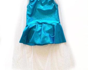 Elsa leotard - elsa costume- snow queen costume- ice queen leotard- baby toddler girls- dancewear- sparkly blue leotard with attached cape
