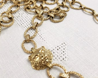 Lion's Head Gold Tone Textured Cable Link Necklace