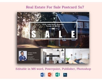 Real Estate Advertising Postcard Template - Editable in Microsoft Word, Powerpoint, publisher, Photoshop template -INSTANT DOWNLOAD-KOR-036A