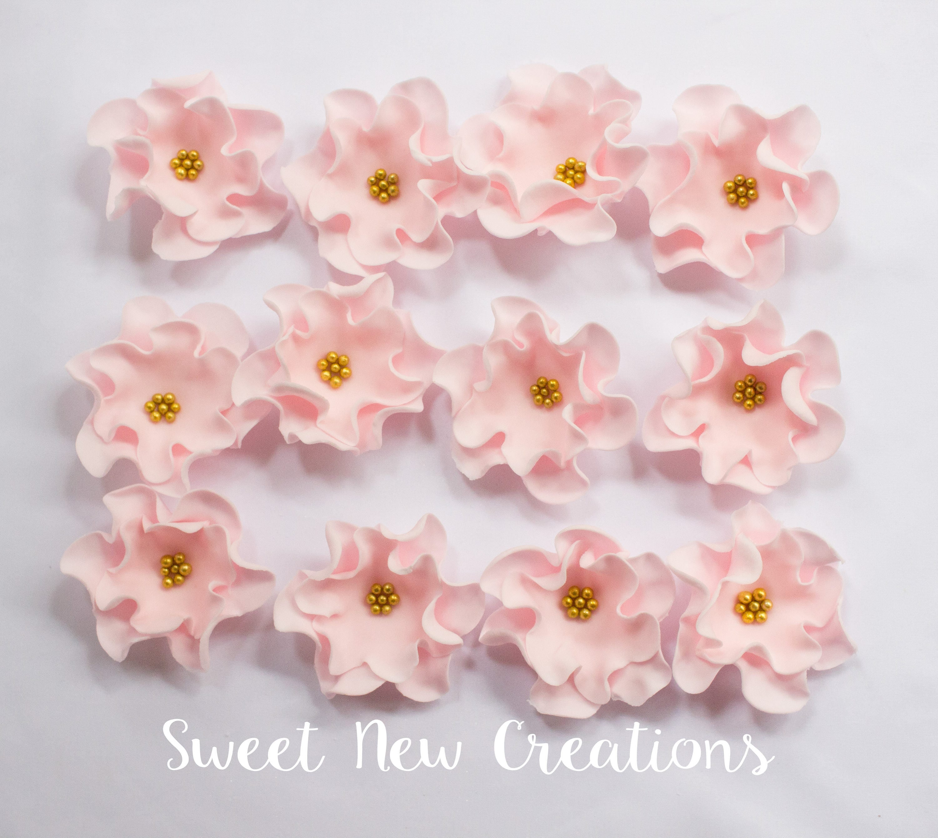 Edible Flowers 25 Vintage Soft Pink Fondant Flowers Cupcake Toppers