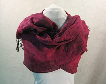 Pashmina, Merlot Pashmina, Fushia Pashmina, Merlot Shawl, Merlot Wrap, Merlot Scarf, Fushia Shawl, Fushia Wrap, Gift for Her