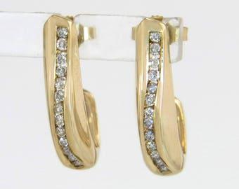 Designer Estate 10K Yellow Gold .26ct Genuine Diamond Post Earrings 3.7g