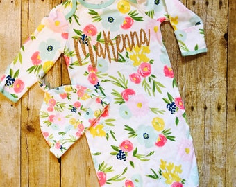 Baby girl floral gown, baby girl coming home outfit, personalized baby gift, floral gown