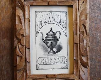 Vintage Carved Tiki Wood Frame Hayward & Co Mocha Java Mid Century Coffee Print